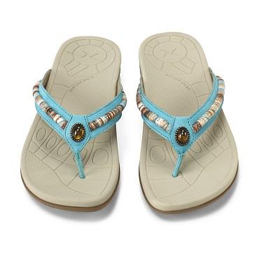 Дамски ортопедични чехли орнаменти цвят син