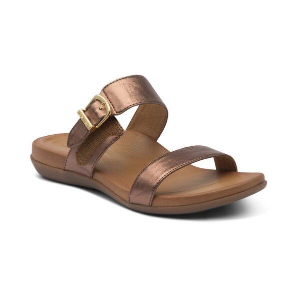 Дамски чехли MIMI SLIDE - цвят бронз